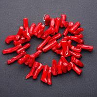 Бусины натуральный Коралл красный веточки крупные для рукоделия d-8мм l-4см нитка (+-) L-40см нитка