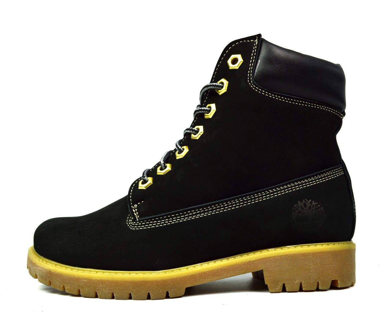 80d30688d7e5 Черные зимние женские кожаные ботинки TIMBERLAND на меху ( шерсть ...