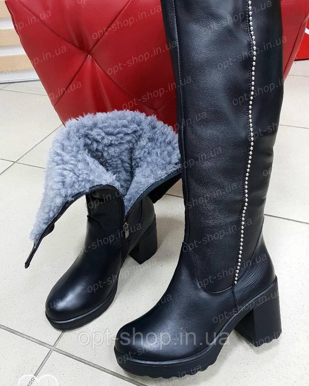 Женские зимние кожаные сапоги на толстом каблуке (код:И-426)