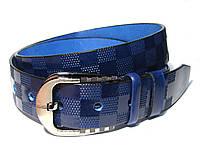 Мужской кожаный ремень LOUIS VUITTON LV (синий)