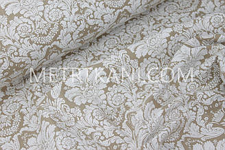 """Лоскуток.Ткань хлопковая """"Дамаск"""" белый на коричневом фоне 83*150 №5-02"""
