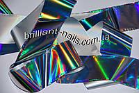 """Фольга №22, серебро лазер (""""Северное сияние""""), 10м"""