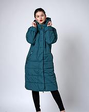 Утепленное стеганное пальто женское с капюшоном