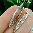 Золотые серьги Сюзанна с алмазной гранью и фианитами, фото 4