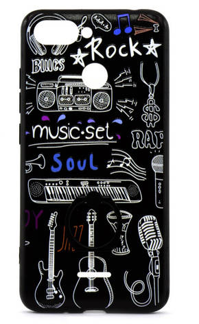 Чохол-накладка для Xiaomi Redmi 6 TPU Чорний/ Музика, фото 2