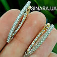 Золотые серьги Сюзанна с алмазной гранью и фианитами, фото 2