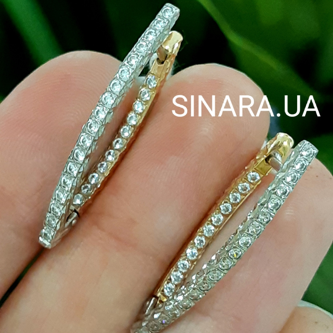 Золотые серьги Сюзанна с алмазной гранью и фианитами