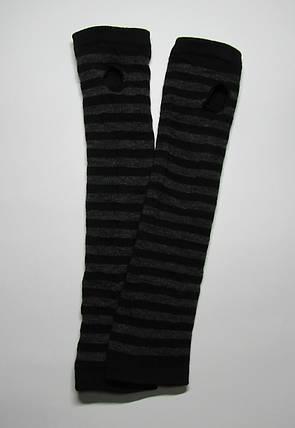 Женские зимние вязаные митенки до локтя Черный + серый, фото 2
