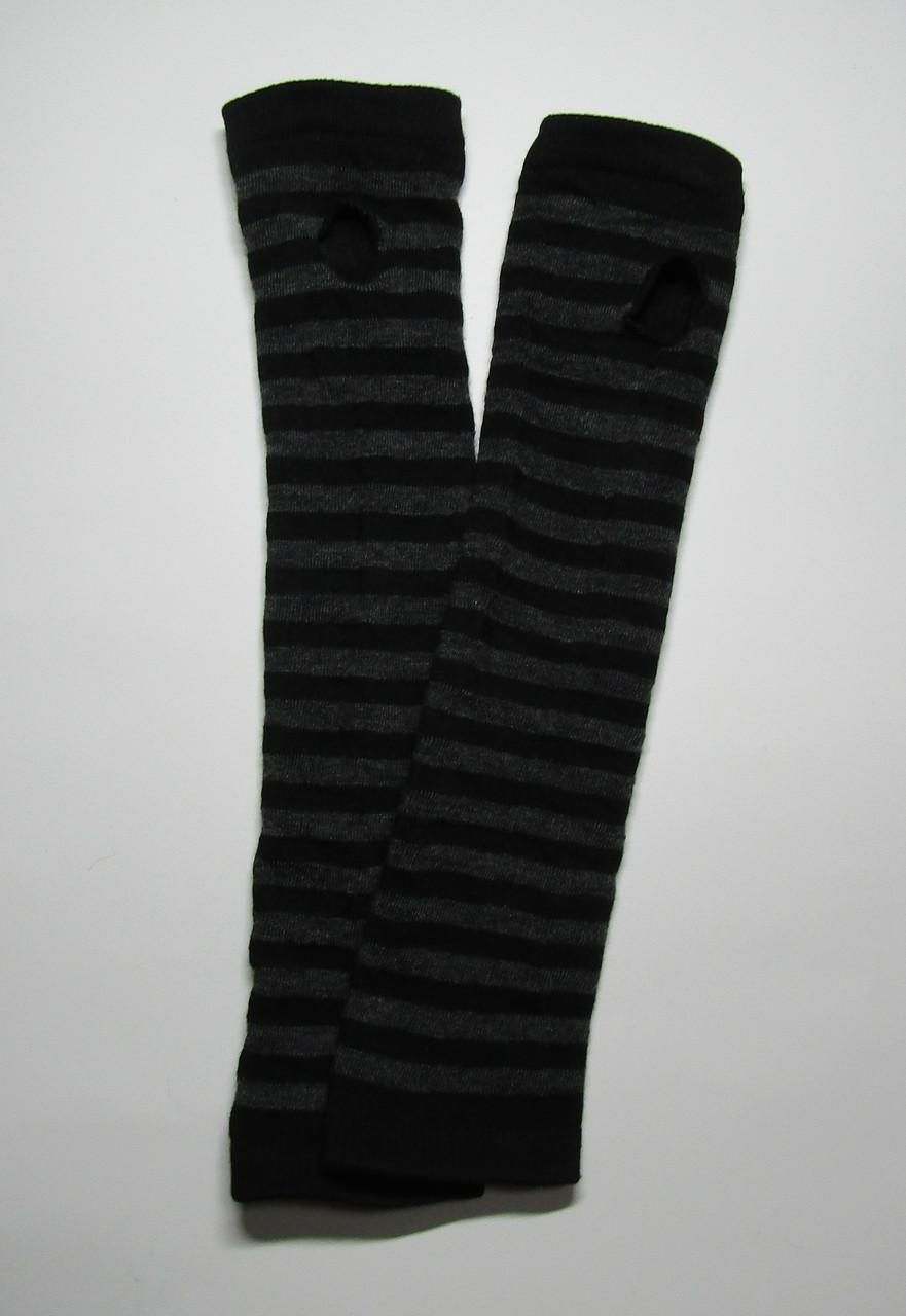 Женские зимние вязаные митенки до локтя Черный + серый