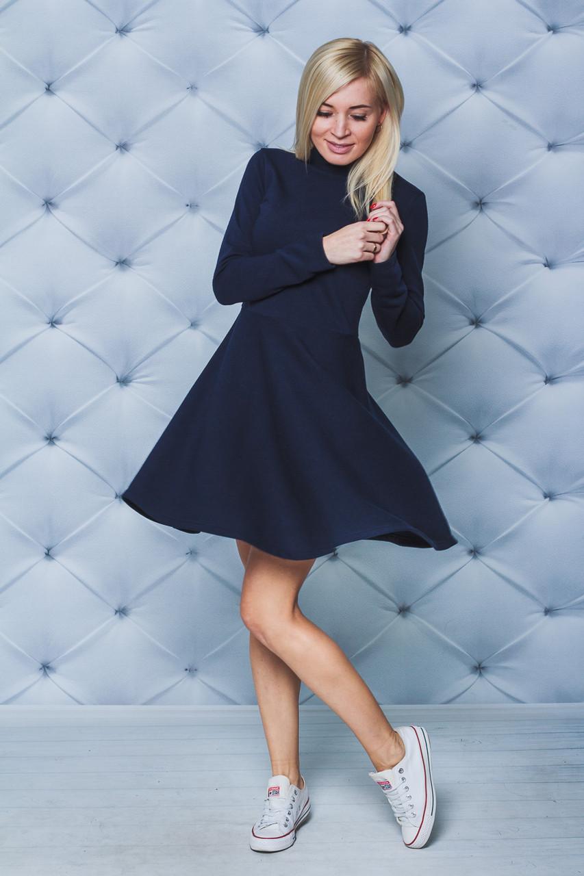 Платье короткое с воротником стойкой т-синее
