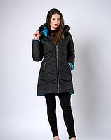 Теплая куртка на зиму в черном цвете и голубыми вставками