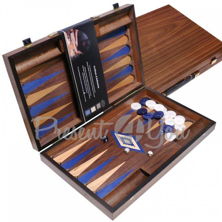 Нарды, грецкий орех, дуб, синие 48х60 см