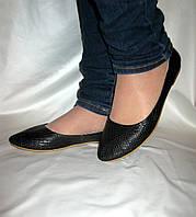 Балетки кожаные черные питон