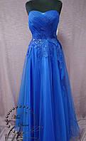 a4e1ccfc9e9 Вечернее платье выпускное платье на корсете синее (электрик)