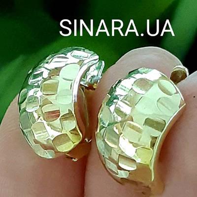 Роскошные золотые серьги Хаги - Серьги лимонное золото - Серьги из желтого золота без камней