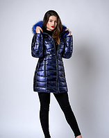 Ультрамодная зимняя куртка цвет синий металик с синим мехом