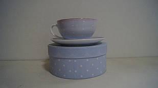 Подарункова Чашка з блюдцем блакитна керамічна