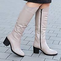 Женские зимние сапоги на широком каблуке кожаные бежевые удобная колодка хороший плотный мех (Код: 1299)