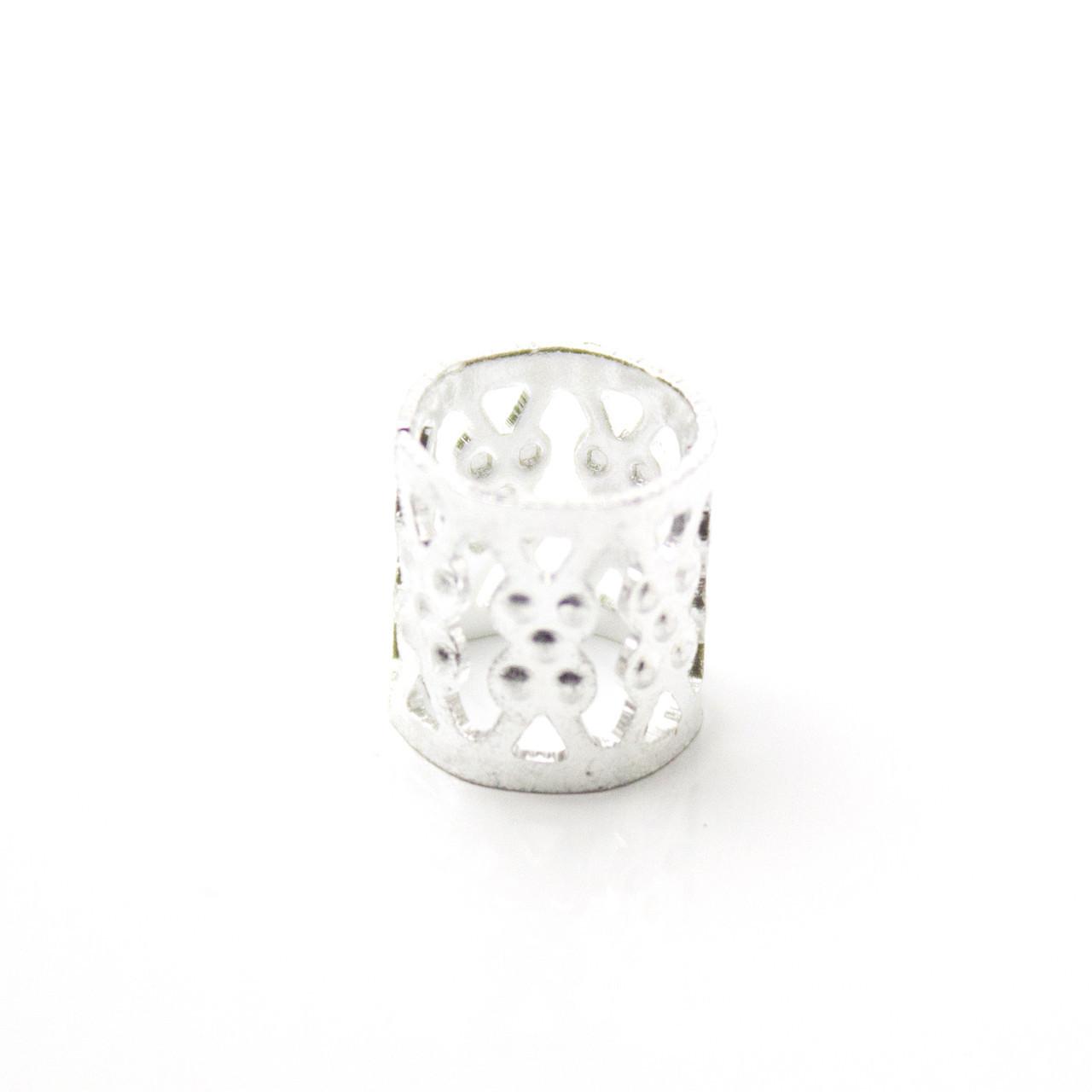 Металлическая трубочка для украшения дредов и косичек Аzur серебро