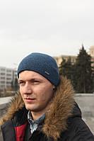 Мужская зимняя шапка с флисом серая