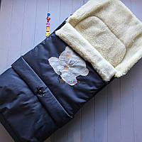Чехол-конверт на санки и в коляску удлиненный с мишкой, синий, фото 1
