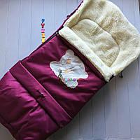 Чехол-конверт на санки и в коляску удлиненный с мишкой, малиновый, фото 1