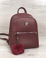 Бордовый маленький женский рюкзак на молнии с пушком, фото 1