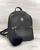Мини-рюкзак! Маленький женский рюкзак черный городской модный с пушком и накладным карманом, фото 1