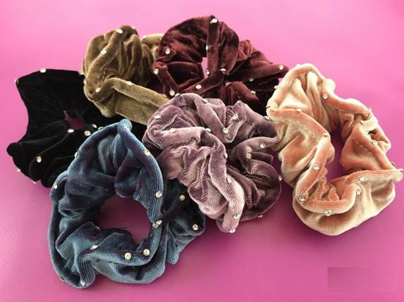 Набор резинок велюр хамелеон с камнями  6-ти цветов, 12 штук, фото 2
