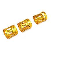 Металлическая трубочка для украшения дредов и косичек Аzur золото, фото 1