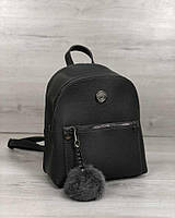 Серый маленький женский рюкзак 44401 на молнии
