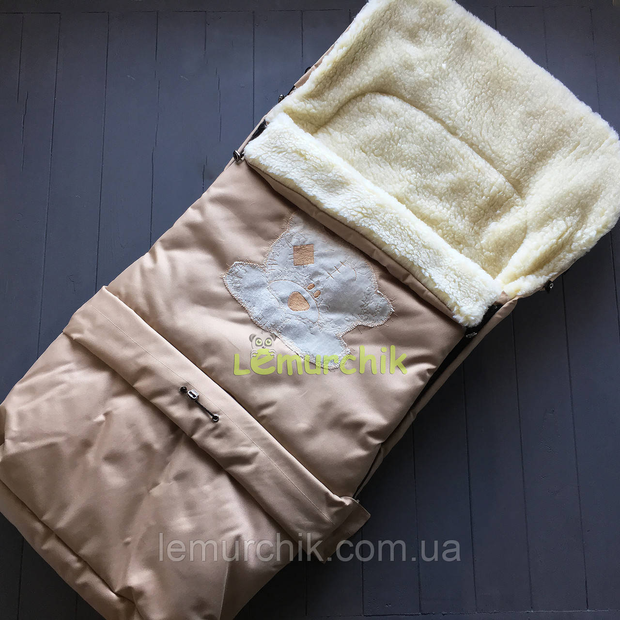 Чохол-конверт на санки і в коляску подовжений з мишком, бежевий
