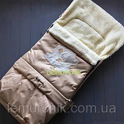 Чехол-конверт на санки и в коляску удлиненный с мишкой, бежевый