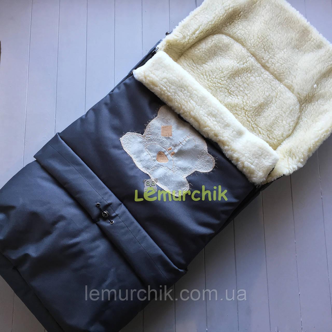 Чехол-конверт на санки и в коляску удлиненный с мишкой, синий