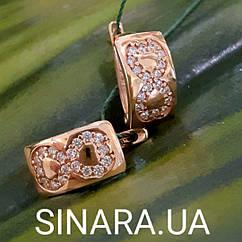 Золотые серьги с камнем  - Золотые серьги Бесконечность