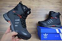 Мужские зимние кроссовки 41 размер Adidas Climaproof высокие серые с оранжевым Реплика