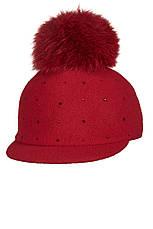 Тепла зимова дитяча кепка з хутряним помпоном і стразиками, Польща, фото 2