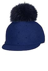 Теплая зимняя детская кепка с меховым помпоном и стразиками, Польша, фото 3