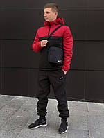 Спортивный черно-красный костюм Nike (анорак+штаны, БАРСЕТКА В ПОДАРОК), (Реплика ААА)