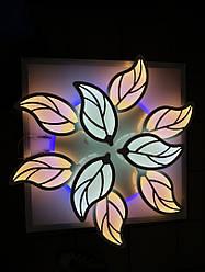 """Люстра светодиодная потолочная 8028/6+3 с пультом и синей подсветкой белая """"листики"""""""