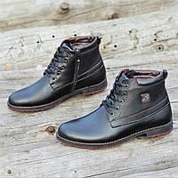 Мужские зимние ботинки классические на шнурках и молнии черные кожаные на меху стильные (Код: 1308а), фото 1