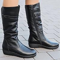 Женские зимние сапоги на танкетке кожаные черные на толстой подошве  элегантные (Код  1305а) b72955af35598