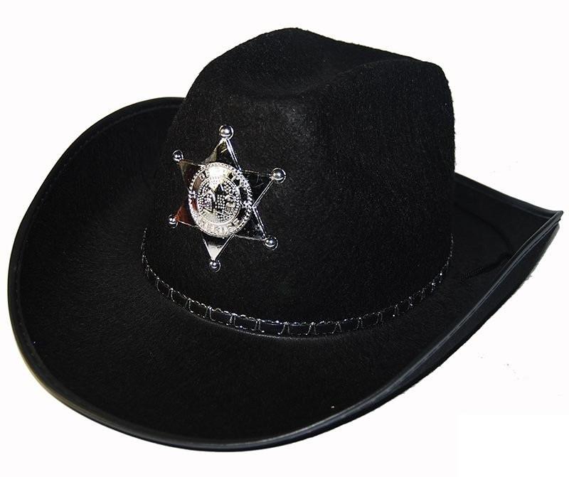Шляпа Шерифа фетр (черная)