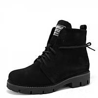 Замшевые зимние ботинки. Черные.