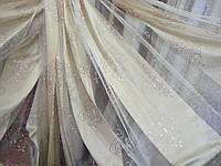 """Тюль Штора органза с тканевым принтом """"Жаде"""" кремовый, высота 2,9 м, фото 1"""