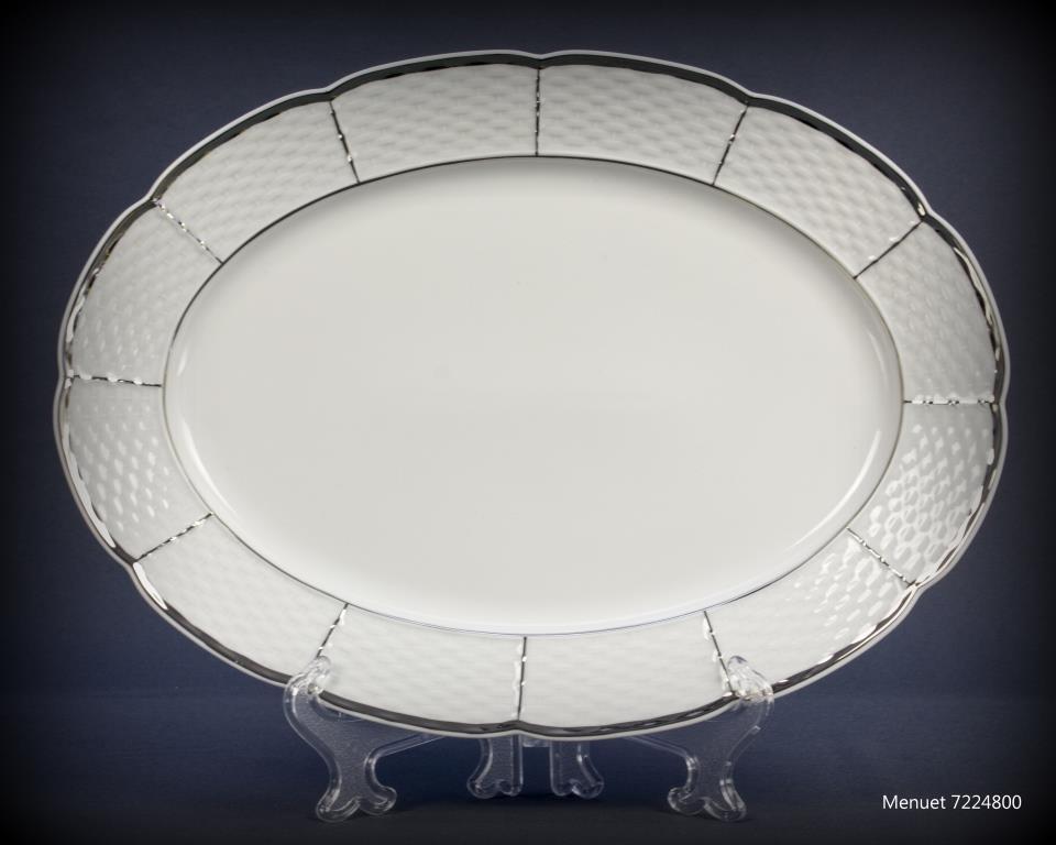 Блюдо овальное с бортом Thun Menuet (Обводка платина) длина 21 см фарфор (7224800)