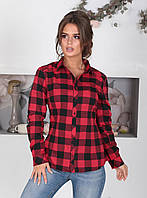 Байковая Рубашка в черно-красную клетку