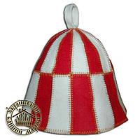"""Клетка"" (красная), шапка для сауны"