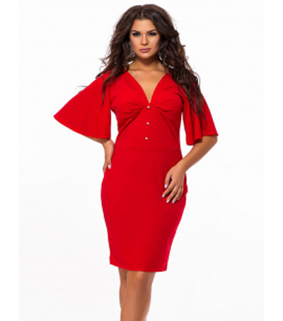 6150c871402f3d9 Купить Красное платье большого размера с коротким рукавом 824432 ...