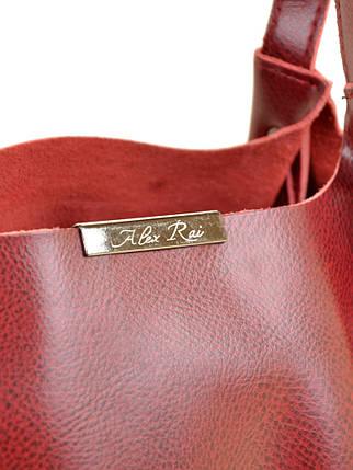 Сумка Женская Классическая кожа ALEX RAI 10-03 8622 pearl-wine-red, фото 2